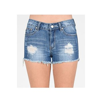 Distressed Ripped Frayed Cut Off Denim Shorts