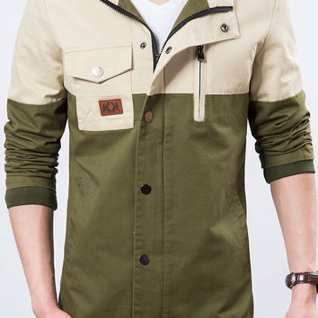 Two-tone Patchwork Casual Mens Jacket Army Green