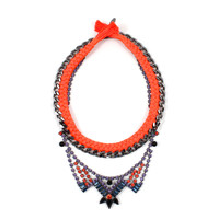 Rebel Romance Crystal Necklace w/ Chain & Braided Cotton Threads - Multicolored / Ruthenium /Pink