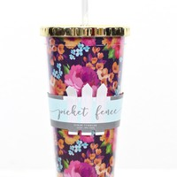 Raleigh Floral Print 24 oz Tumbler w/ Gold Lid {Pink Mix}