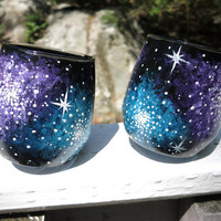 Hand painted galaxy Weeble wobble whiskey glasses (set of two)