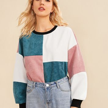 Contrast Neck and Cuff Cut-and-sew Cord Pullover