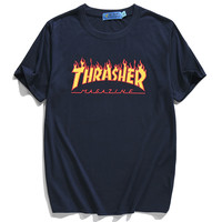 Thrasher Magazine Red Flame Logo Blue & Yellow T-Shirt