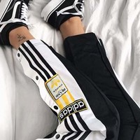 Adidas Originals Adibreak Poppe Pants Snap Track Bottom Women Men Sides Open Button Trousers B-AA-XDD Black