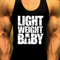 Light Weight Baby, Bodybuilding Tank Top, Mens Workout Shirt, Racerback Singlet Y-Back, Muscle Tee, Mens Fitness Gym Tank, Fitness Apparel
