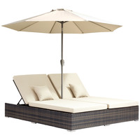 Atlantic Double Chaise Lounge Brown Aluminum Frame