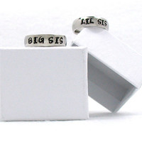 Big Sis Lil Sis Ring, Friends Ring, Stainless Steel Ring, Sisters Ring, Personalized Ring, Custom Name Ring, Hand Stamped Ring, Custom Ring