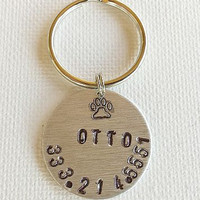 Personalized Custom Hand Stamped Dog Tags, Cat Tag,  Metal, Pets Name Phone Number