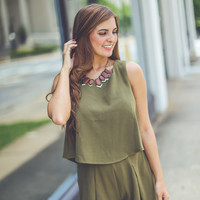 Layered and Pleated Romper in Olive