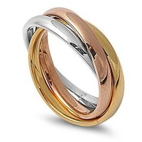 STR-0002 High Polished Stainless Steel Triple Multi Color Band Ring Size 3-12; Comes with Free Gift Box(10)