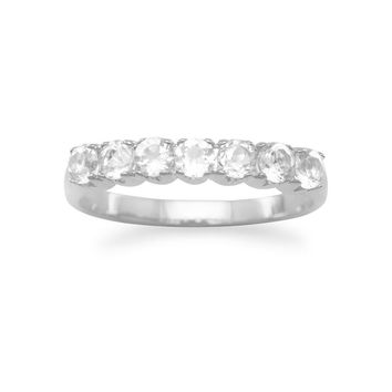 Sterling Silver White Topaz 7-Stone Anniversary Style Ring