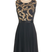 ModCloth 20s Mid-length Sleeveless A-line Fashionable Frondescence Dress