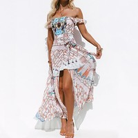 Bohemian Chiffon open-forked beach dress with printed breasts and shoulders