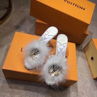LV Louis Vuitton Women Fashion Leather white sandals shoes slipper Autumn best quality