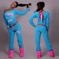 Hello Kitty Print T-shirt Pants Activewear Two Pieces Sports Suit