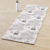 Vintage Birdcage Bare Branch Swallows Yoga Mat