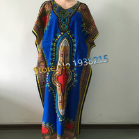 Hot Sale 2016 New Fashion Design Traditional African Clothing Print Dashiki Nice Neck Embroidered African Dresses for Women