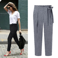 Tie-Waist Pleated Pencil Pants