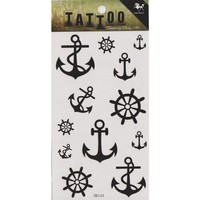 """MagicPieces Temporary Tattoo Fake Tattoo Waterproof Non-toxic Tattoo Sticker with Black Anchor and Helm Pattern Size 3.06""""X5.13"""" HM544"""