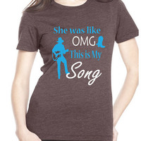 Women's OMG This is My Song T-Shirt - Brown/Blue