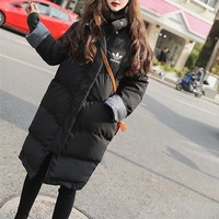 Adidas Women Fashion Multicolor Long Sleeve Middle Long Section Cotton-padded Clothes Thickened Bread Down Jacket Coat