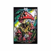Mushroom Caterpillar - Blacklight Velvet Poster