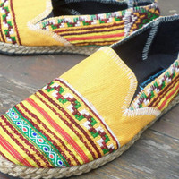 Vegan Womens Espadrilles Yellow Hmong Embroidered Loafers