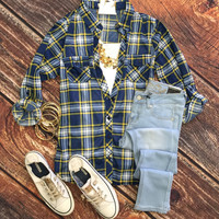Penny Plaid Flannel Top: Blue/Yellow