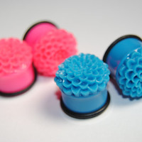Bright Dahlia 3/4 inch (19mm) Acrylic Plugs, Ear Gauges, Women, Stretched Ears, Fun, Neon, Floral, Flower, Plugs for Girls, CHOOSE COLOR