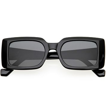 Retro Medium Square Flat Lens Thick Rimmed Rectangle Sunglasses D213