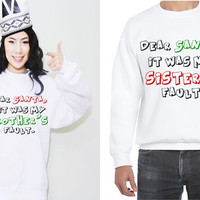 Dear Santa, it was my brother's fault/ it was my sister's fault Funny Saying Siblings Christmas Holiday Fleece Sweatshirt (Ugly Sweater)