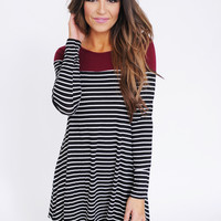 Maroon Top/Striped Long Sleeve Tunic