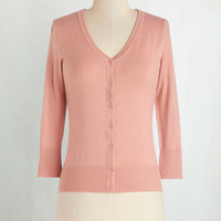 Pastel, Scholastic Mid-length 3 Button Down Charter School Cardigan in Rose