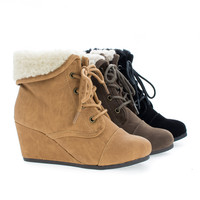 NastIIS Children's Girl Lace Up Faux Shearling Cuff Wedge Ankle Booties