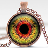 Eye Necklace, Third Eye Jewelry, Evil Eye Charm, Red Green Orange Eyeball Pendant (930)