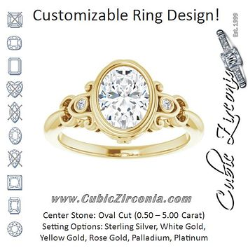 Cubic Zirconia Engagement Ring- The Viridiana (Customizable 5-stone Design with Oval Cut Center and Quad Round-Bezel Accents)