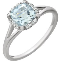 14kt White Gold Cushion Aquamarine & .05 CTW Diamond Halo Ring