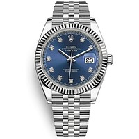 ROLEX DATEJUST 41 STEEL AND WHITE GOLD BLUE DIAMOND DIAL JUBILEE BRACELET 41MM