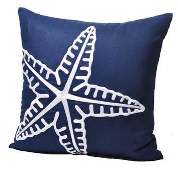 "Modern Starfish Pillow Cover, Navy Blue Linen with White Starfish, Decorative Throw Pillow, Pillow Case 18"" x 18"", Beach Cottage Cushion"
