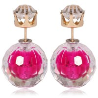 Gum Tee Mise en Style Tribal Double Bead Earrings - Hidden Gem Rose Pink