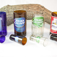 Unique Gift Set Upcycled from Budweiser Beer Bottles, Shot Glass, Drinking Glass, Upcycled Beer Bottle, Unique Glassware