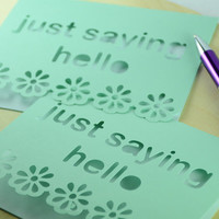Pale green just saying hello blank notecards teacher hostess gift personalized  invitations stationary