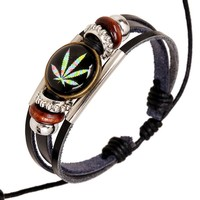 Jamaica Bracelet Woman Cow Leather Colorful Leaves Handmade Charm Weed Bracelets For Men Wax Cord Adjustable String Friend Gift
