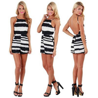 Striped Halter Backless Romper
