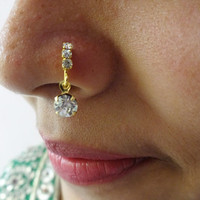 Nose Ring Indian Traditional Nose Ring Medusa Piercing Nose Pin Crystal Stone Nose Ring Studs Jewelry Cartilage Pin Septum Ethnic Tribal PC