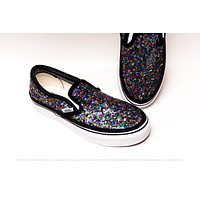 Rainbow Speckle Starlight Sequin Slip On Sneakers