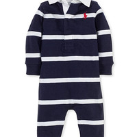 Ralph Lauren Baby Coverall, Baby Boys Rugby Striped Coverall | macys.com