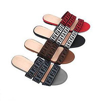 Fendi New Women's Slippers, Letter Word, Flat Bottom, Fashionable All-match Lazy Sandals Shoes