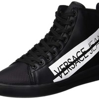 Versace Jeans Leather Zip Black High Top Trainers