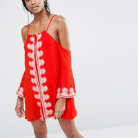 Missguided Cold Shoulder Embroidered Swing Dress at asos.com